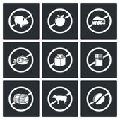 Russian trade  restrictions  Icons Set — Stock Vector