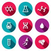 Chemistry, science icon set — Stock Vector