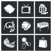 Leisure, free time   Icons Set — Stock Vector