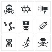 Epidemic, disease icons set — Stock Vector
