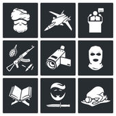 Terrorism  Icons Set — Stock Vector
