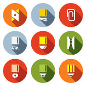 Stationery items icon set — Stock Vector