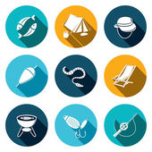Fishing, lesure icons collection — Stock Vector