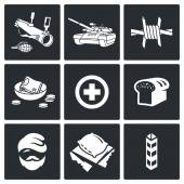 Refugees and fighting  Icons Set — Stock Vector