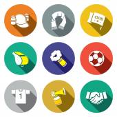 Attributes of Soccer fan icond collection — Stock Vector