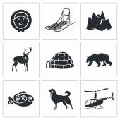 Chukchi and  Far North  Icons — Stock Vector