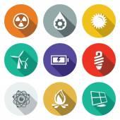 Energy, electricity   icons set — Stok Vektör