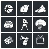 Basketball sport  Icons Set — Stock Vector