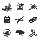 Crash of Malaysian aircraft Icons Set — Stock Vector