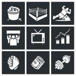 Wrestling sport  Icons Set — Stock Vector #72236501