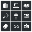 Library, reading  icons — Stock Vector #72236723