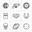 Russian roulette game icons. — Stock Vector #72236961