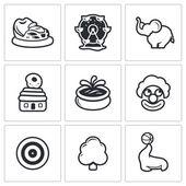 Amusement,  entertainment icons. — Stock Vector