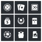 Casino, gambling icons. — Stock Vector
