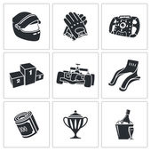 Car Racing Icons Set — Stock Vector