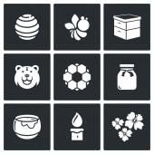 Apiary, honey production icons — Stock Vector