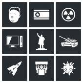 North Korea icons. — Stock Vector