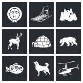 Population and nature of north Icons — Stock Vector