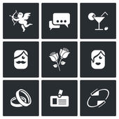 Speed dating Icons. — Stock Vector