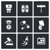 Doping, drugs test icon set — Stockvektor