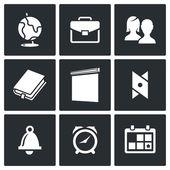 Skolan levererar ikoner set — Stockvektor