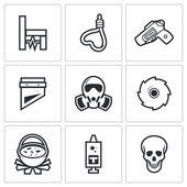 Execution, killing icons. — Wektor stockowy