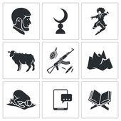 Islam in Chechnya Icons Set — Stock vektor