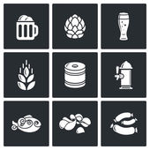 Beer and appetizers icons — Stock Vector