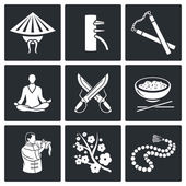 Martial Arts, Wing Chun Vector Icons Set — Stock Vector