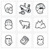 Caucasus region traditions icons — Stock Vector