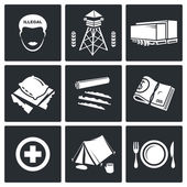 Camp for displaced persons  Icons Set — Stock Vector