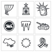 USA Russia conflict icons — Stock Vector