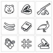 Poaching, illegal hunt icons — Stok Vektör