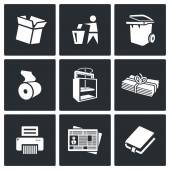 Waste paper icons. — Stock Vector