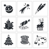 New Year  holiday Icons Set — Stock Vector