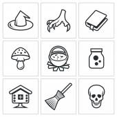 Witch, spell icons. — Stock Vector