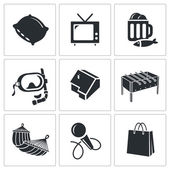 Leisure, recreation   Icons Set — Stock Vector