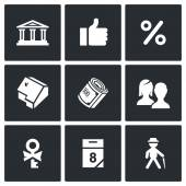 Mortgage credit lending icons set. — Stock Vector