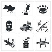 Situation in Ukraine Icons Set — Stock Vector
