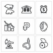 Currency devaluation icons set — Stock Vector