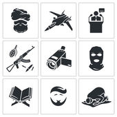 Crime and religion  Icons Set — Stock Vector