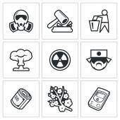 Nuclear Power in Japan icons. — Stock Vector