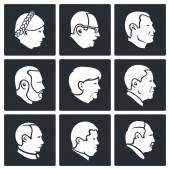 Politics People head  Icons Set — Stock Vector