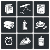 Services of Dry Cleaning Icons Set — Stock Vector