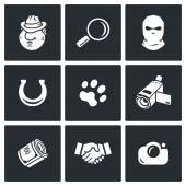 Detective, investigation  icon set — Stock Vector