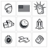 USA and moon icons — Stock Vector