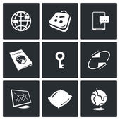 CouchSurfing icons set — Stock Vector
