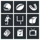 American Football Vector Icons Set — Stock Vector