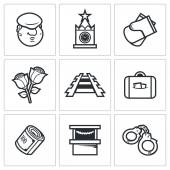 Newcomer migrant icons. — Stock Vector