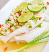 Steamed basa fish — Stock Photo
